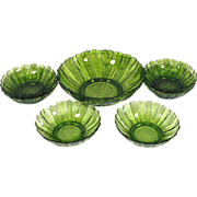 SOLD Anchor Hocking Country Garden Avocado Glass 7 Pc Salad Bowls Set