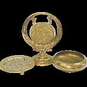 Brass Collectibles Lot Dinner Gong, Bowl, Trivet