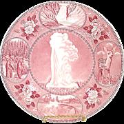 Yellowstone Park Adams Staffordshire Red Transferware Souvenir Plate
