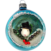 Glass Diorama Snowman Holly Scene Indent Christmas Ornament
