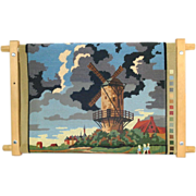 SOLD Needlepoint Scroll Frame With Unfinished Dutch Scene Canvas
