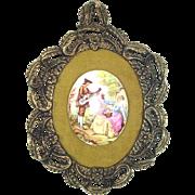Fragonard Framed Porcelain Cameo Wall Hanging