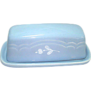 Pfaltzgraff Gazebo Blue Bouquet Covered Butter Dish