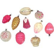 Antique Germany Pink Gold Glass Christmas Ornaments