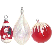 West Germany Austria Unsilvered Glass Christmas Ornaments