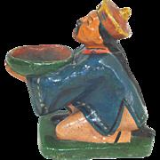 Antique China Man Figural Incense Burner Figurine