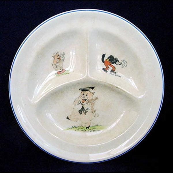 Walt Disney 3 Pigs 1930s Divided Childs Feeding Plate