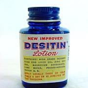 Desitin Lotion Vintage Sample Medicine Bottle With Contents