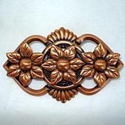 Pretty Copper Flower Brooch