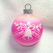 Shiny Brite Stenciled Pink Unsilvered Glass Christmas Ornament