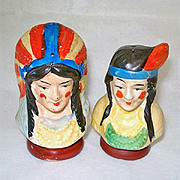 Indian Chief and Squaw Busts Vintage Salt and Pepper Shakers