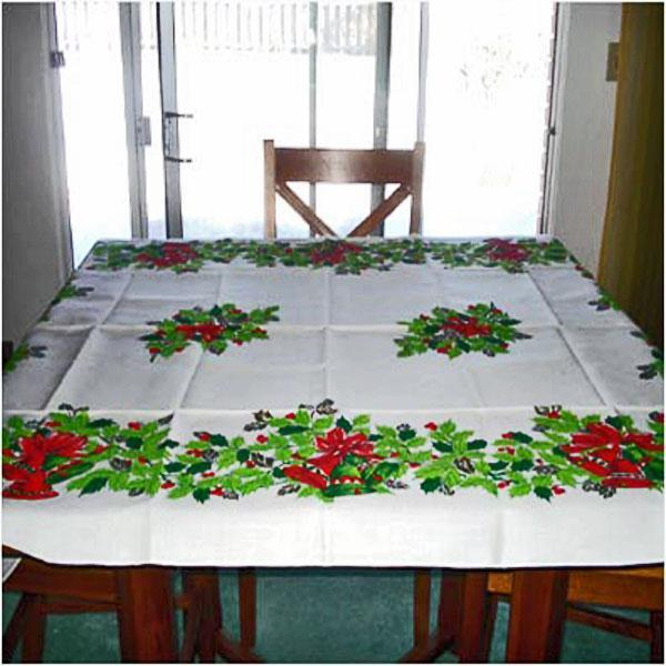 Holly and Bells Vintage 50 by 70 Inch Christmas Tablecloth