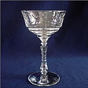 Libbey Rock Sharpe Arctic Rose Champagne Tall Sherbet Goblet