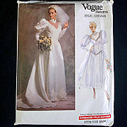 Vogue 1988 Size 8 Bridal Wedding Dress Sewing Pattern Uncut
