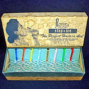 Retro 1950s Stop Ice Beverage Tumbler Ice Inserts Mint in Box