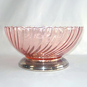 Rosaline Pink Swirl Salad or Serving Bowl Silverplate Base