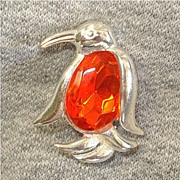 SALE Jelly Belly Orange Faceted Penguin Pin Brooch