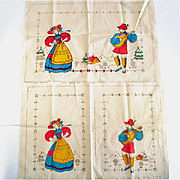 Bavarian Couple 1930s Tinted Vogart Buffet Set For Embroidery