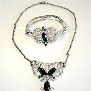 Demi Parure Stylized Butterfly Emerald Rhinestone Necklace Bracelet  Set