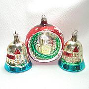 Embossed Church Scene 1960s Glass Christmas Ornaments