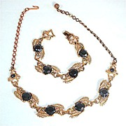 Black Glass Stones in Linked Leaf Setting Demi Parure Necklace and Bracelet