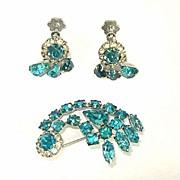 Turquoise Rhinestone Comet Brooch and Earrings