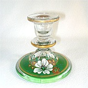 1930s Indiana Glass Candlestick Enamel Dogwood Decoration