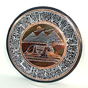 Large Mixed Metals Inlaid Egyptian Sphinx Charger