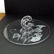 Fostoria Morning Glory Carved Center Handle Lunch Tray