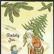 """Skiing Santa with Christmas Tree""  (1915)"