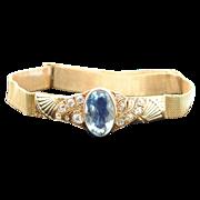 18 Karat Gold Aquamarine and Diamond Bracelet