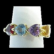 14 Karat Yellow Gold Multi Colored Stone Heart Ring