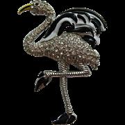 Vintage  Black and White Flamingo Enamel Rhinestone Art Deco Fur Clip BOOK PIECE