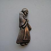 Vintage Mexico Taxco Los Castillo Sterling Figural Woman Peasant Mexican Silver Book Piece Pin