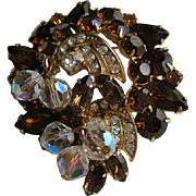 "Vintage Kramer Signed Rhinestone Crystal "" DANGLES""  Brooch Pin"
