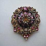 "Vintage Eisenberg Dress Fur Clip ""BIG"" Rhinestone Purple Pink  Pin Brooch"