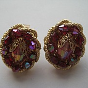 Vintage Hobe Glass Red Pink Gold Tone Metal Earrings
