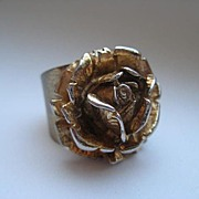 Vintage Napier STERLING SILVER Rose Ring Flower Gold Tone Realistic Chunky Big