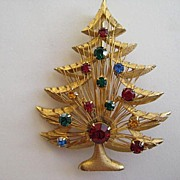 Vintage BROOKS Christmas Tree Rhinestone Pin Brooch Book Piece
