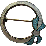 Vintage Victorian Edwardian Sterling Bow Elegant Guilloche Enamel Pin Brooch