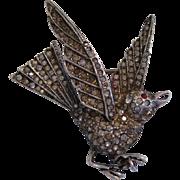 Vintage Coro Craft Sterling Silver Figural Flying Bird Rhinestone Pin