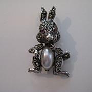 Vintage Rabbit  STERLING SILVER Figural Garnet Marcasite Modern Pin