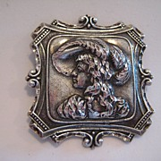 Vintage Sterling Silver Figural  Woman 3-d  French Bust Portrait Stylized Brooch