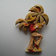 Vintage Plastic Figural Mexico Guitar Player Palm Tree Pin Stylized