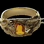 Vintage WHITING & DAVIS Floral Bangle Bracelet w/ Amber Glass Stone