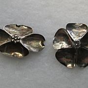 Vintage Stuart Nye 2 Brooches Pin Modernist Sterling Silver Dogwood Set