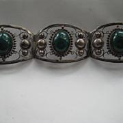 Vintage Mexico Taxco LARGE Sterling Silver Green Jade Like Stone Bangle Bracelet