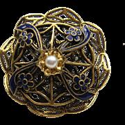 Vintage Freirich Royal Blue Enamel Flowers Faux Pearl God Plated Pin Brooch