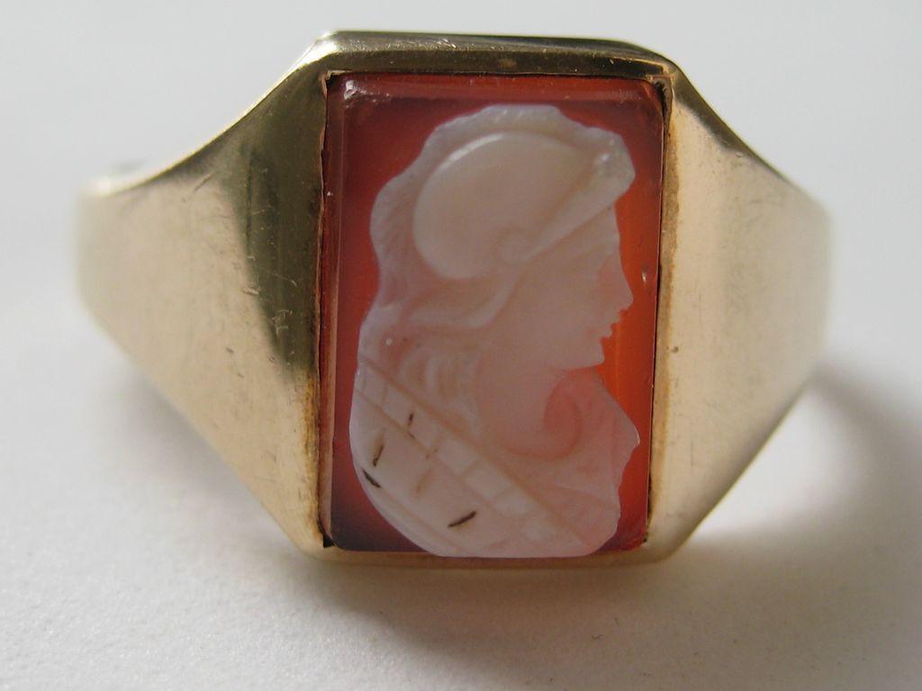 Vintage Edwardian Ring 10k Yellow Gold Hardstone Cameo