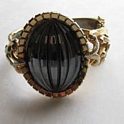Vintage MASSIVE Black Hematite Ribbed Stone Clamper Cuff Bracelet Gold Tone